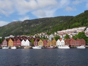 View of Bryggen Quay from across the water.  The 11 houses on the right are original and are all slightly tilted from settling.