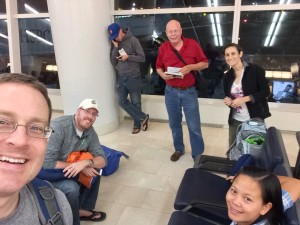 Selfie at JFK: Waiting for our flight
