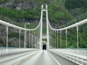 Crossing a bridge into a tunnel