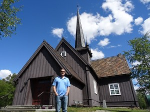 Ryan outside a Stave Church
