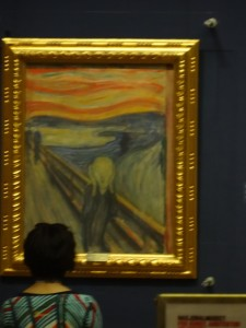 Edvard Munch's 'The Scream'. We weren't supposed to take pictures, but we snapped one from outside the room.