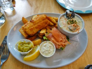 Shared lunch platter in Dingle consisting of fish & chips, seafood chowder, and smoked salmon.  Delicious!
