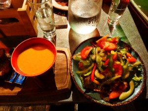 Carrot and dill soup and a salad in Cork