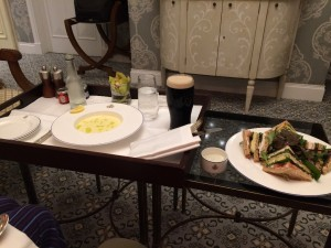 Potato soup (with a lot of cream) and chicken and avocado sandwich - Room service at Ashford Castle