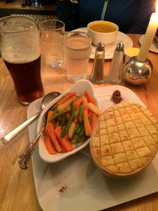Cottage pie and veggies, with vegetable soup in the background and of course a Smithwicks!