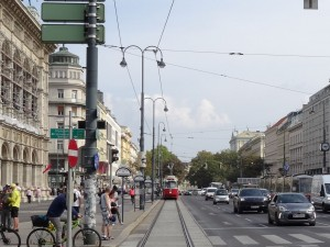 Here comes the tram!  Great public transportation in Vienna