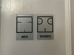 Bathroom sign at lunch
