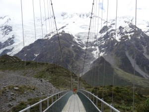Swing bridge on the Hooker Valley Track