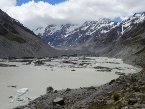 Hooker glacier and glacier pieces floating in the lake