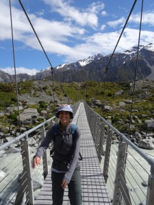 Nicole on a swing bridge at Hooker Valley